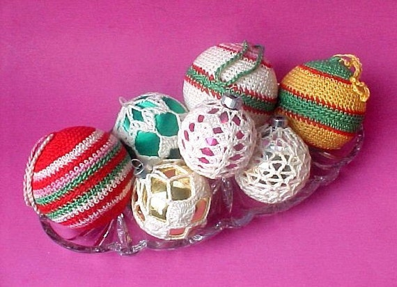 Vintage Christmas Ornaments 1970's Crocheted Cottage