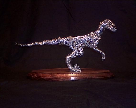Wire Sculpture Dinosaur - Velociraptor