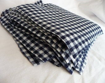 "LAST ONE 30 ct 6"" X 6"" vintage navy and white plaid poly fabric squares"