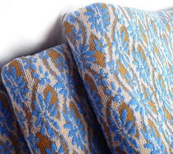 LAST ONE vintage blue and olive brown poly fabric