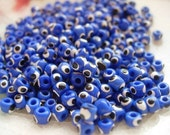 Reserved for Katie -Tiny Assorted Handpainted  Glass Evil Eye Beads 4mm-set of 20