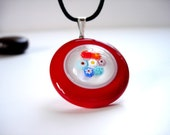 Christmas Red Murano Glass Pendant Necklace