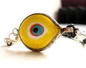 Yellow Evil Eye Sterling Silver Bracelet with Turtle