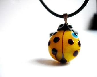 Yellow Ladybug Evil Eye Pendant