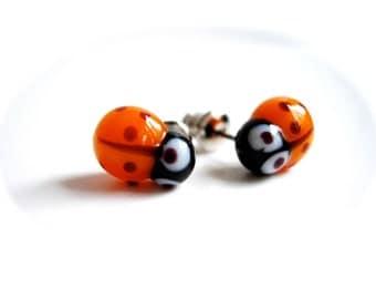 Orange Ladybug Stud Earrings