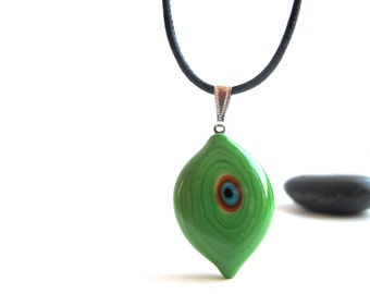 Spring Green Evil Eye Pendant Necklace