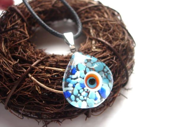 Aquarium Blue Dots Evil Eye Murano Glass Pendant Necklace