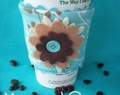 Turquoise and Tan Coffee Bling ( Coffee Cozy)
