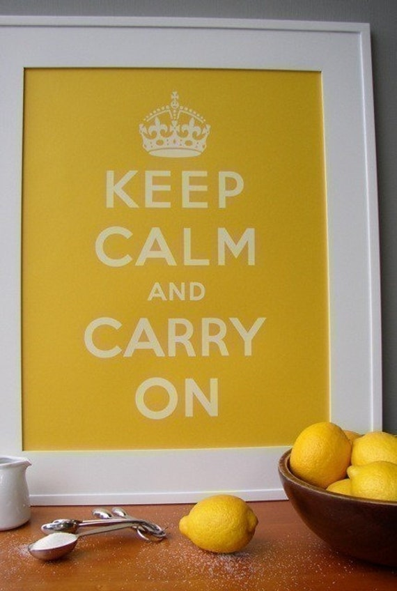Keep Calm poster - Lemon Yellow - French Paper Company - 16x20 screenprint - Keep Calm and Carry On art