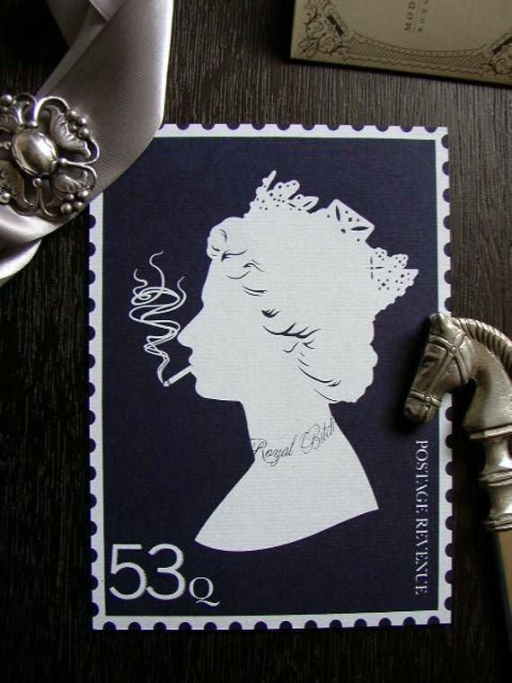 NEW Rebel Queen Elizabeth II silhouette screenprint -- Navy