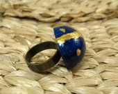 Wooden Ring- Midnight Blue, Dome Shaped, Gold, Ring, Adjustable
