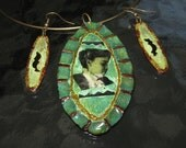 Necklace and Earrings, Steampunk Jewelry, Cameo Necklace, African American, Wooden Necklace, Collaged Jewelry, Patina Green, Oval Shaped