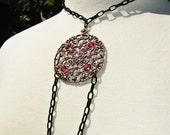 Pendant Necklace: Burnt Orange, Russet, Rusk, Antique Cooper,  Black Chain, Fall Jewelry, Autumn Jewelry, Pendant, Gothic Necklace