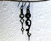 Asymmetrical Vintage Clock Hand Earrings - Black