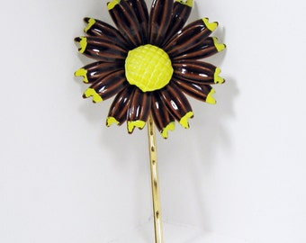 Hair Jewelry, Hair Accessory, Gold Bobby Pin, Brown and Yellow, Brown Flower, Chocolate Brown