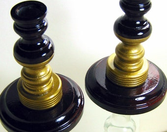 Taper Candle Holders, Mahogany and Gold, Wooden, Glass, Table Decor, Tall Candle Holders, Wood Glass, Room Decor, Handmade, Set of  2