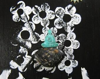 Buddha in Meditation- Mixed Media Original, Wall Art, Zen, Buddha, Meditation, Peace, Urban Wall Art