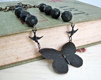 Butterfly Necklace, Swallow Bird, Butterfly Jewelry, Dark Green, Dark Patina, Brass Chain, Handmade Necklace