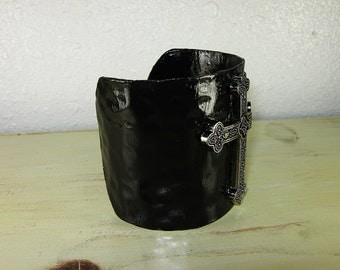 Wide Cuff Bracelet, Metal Cross, Black Cuff Bracelet, Wide Cuff, Black Metal, Rocker Jewelry, Edgy Jewelry, Gothic Bracelet