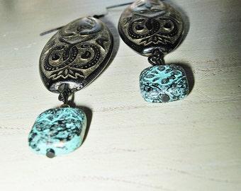 Black and Gold Earrings, Turquoise Blue, Black, Gold, Drop Earrings, Oblong Shaped, Oval Shaped, Dangle Earrings