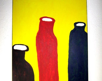 Acrylic Painting, on Canvas, Modern, Original Painting , Wall Art, Contemporary Art, Bottles