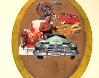 Collage on Wood, Lena Horn, Wall Art, Large, Oval Shaped, Black Art, Original Collage, Vintage Cars, Car Art