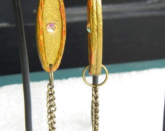 Long Earrings, Pink and Gold, Wooden Earrings, Wood and Chains, Iridescent Pink, Wooden Jewelry, Dangle Earrings