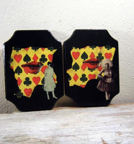 Collage on Wood, Mixed Media Art, Black Art, Wall Hanging, Red, Black, Yellow, Modern Vintage, Handmade