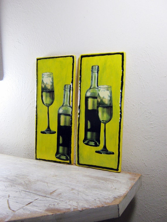 A touch of Italy - Wine Bottle Wine Glass on Wood, Kitchen Wall Art, Dining room Art -(2)