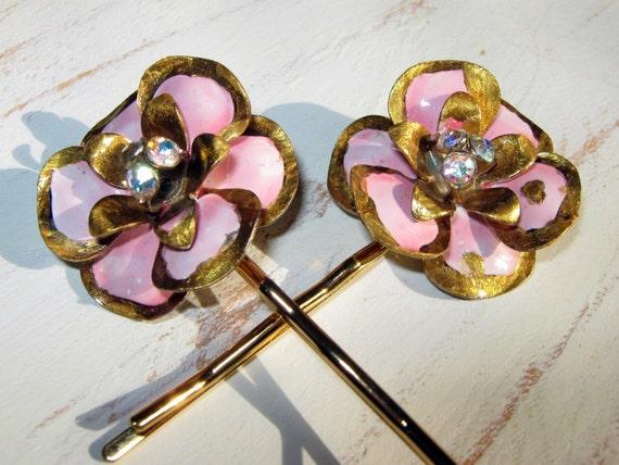 Flower Bobby Pin, Pink and Gold, Hair Accessories, Bridal Hair, Wedding Hair, Bobby Pin, Pinup Girl Hair, Rhinestones, Blue