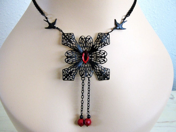 Goth Necklace- Dark Swallow, Dark Snowflake, Goth Jewelry, Large Snowflake