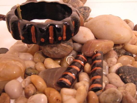 Wooden Bangle Bracelet and  Earring set - Dark Walnut, Cooper, Ethic Jewelry, Egypt