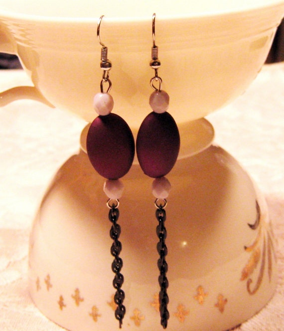 Long Earrings, Eggplant Purple, Black Chain, Lavender, Deep Purple, Purple and Black,  Dangle Earrings