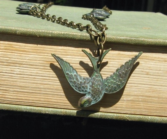 Patina Swooping Bird  Necklace- Heart Necklace, Bird Necklace, Antique Brass Chunky Chain, Patina Necklace, Long Necklace