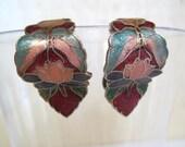 Vintage. Cloisonne Lotus Flower Clip Earrings.