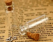 Tiny Clear Glass Bottle Vials Pendant 10x28mm - Bottle with Cork and Silver Eyehook  - GB02(10pcs)