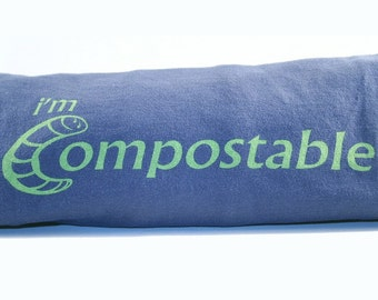 Women's Small Navy Organic Cotton T-Shirt - I'm Compostable