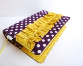 Purple/White Polka Dot Bible Cover with Yellow Dot Ruffle- Made to Order