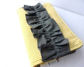 Bible Case-Yellow/White Stripe Bible Cover with Grey Ruffle and Book Mark