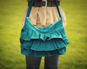 Ruffled Hobo Bag - Peacock Blue -  Diaper Bag - Purse - Bible Bag