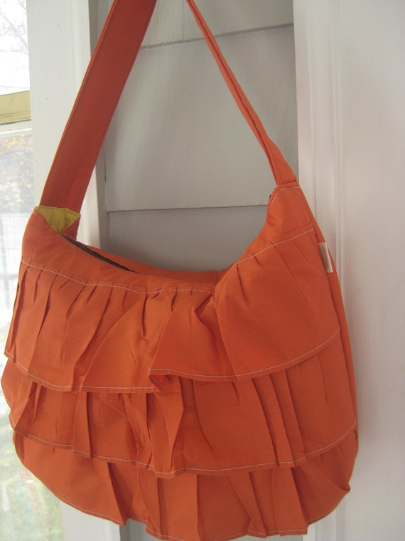 Burnt Orange Ruffle Bag with Wide Shoulder Strap and Zipper Closure