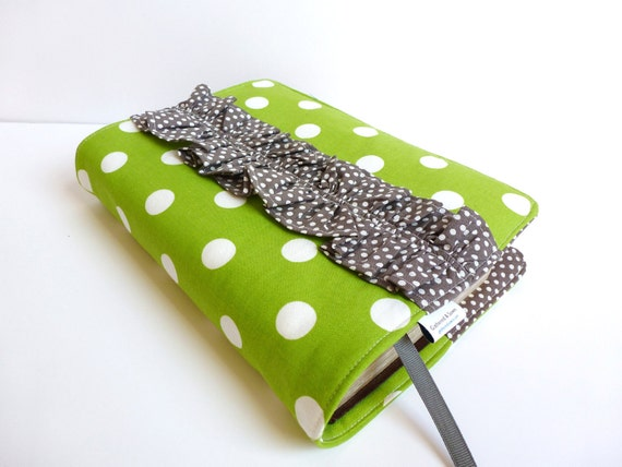 Bible/Book Cover- Made To Order- Green Dot with Grey Ruffle Accent-Grosgrain Ribbon Bookmark