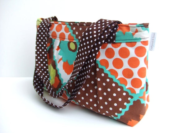 Pleated Purse in Vintage Style Patchwork Cotton Print  with polka dot handles