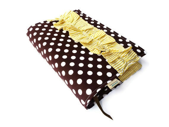 Bible Cover-Handmade with Brown and White Polka Dots- Yellow Striped Ruffle