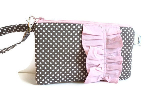 Grey/White Polka Dot Wristlet with Cotton Candy Pink Ruffle