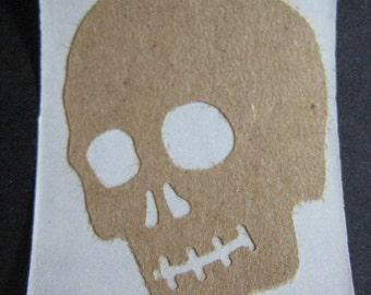 Kraft Brown Skull Stickers