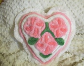 PLUSH Pink Floral Tufted Vintage Chenille Heart Pillow