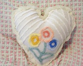 White Vintage Floral Chenille HEART Pillow