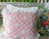 Gorgeous Pink Vintage Chenille Bedspread Pillow