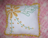Yellow Floral Tufted Vintage Chenille Pillow